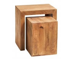 Tanda Mango (Light) Solid Hardwood Cubed Nest of 2 Tables