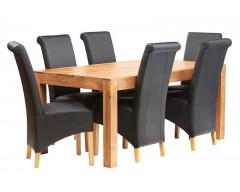 Tanda Mango (Light) Solid Hardwood Dining Set (6ft/180cm) with Leather Chairs