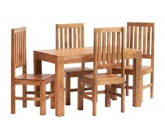 Tanda Mango (Light) Solid Hardwood Dining Set (4ft/120cm) with Wooden Chairs
