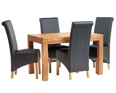 Tanda Mango (Light) Solid Hardwood Dining Set (4ft/120cm) with Leather Chairs