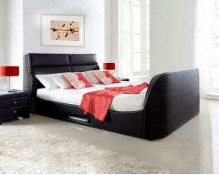 Kaydian Wynn 5ft Real Bonded Leather TV Bed Frame