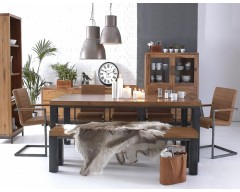 Ashton 1.8m Dining Set in Oak with Metal Frame (4 Chairs)