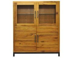 Ashton Highboard in Oak with Metal
