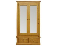 Warran Large 2 Door Mirrored Wardrobe in Pine