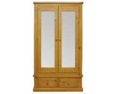 Carmen Large 2 Door Mirrored Wardrobe in Pine
