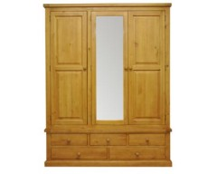 Warran Large 3 Door Mirrored Wardrobe in Pine