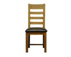 Langdon Ladder back Chair Oak with PU Seat