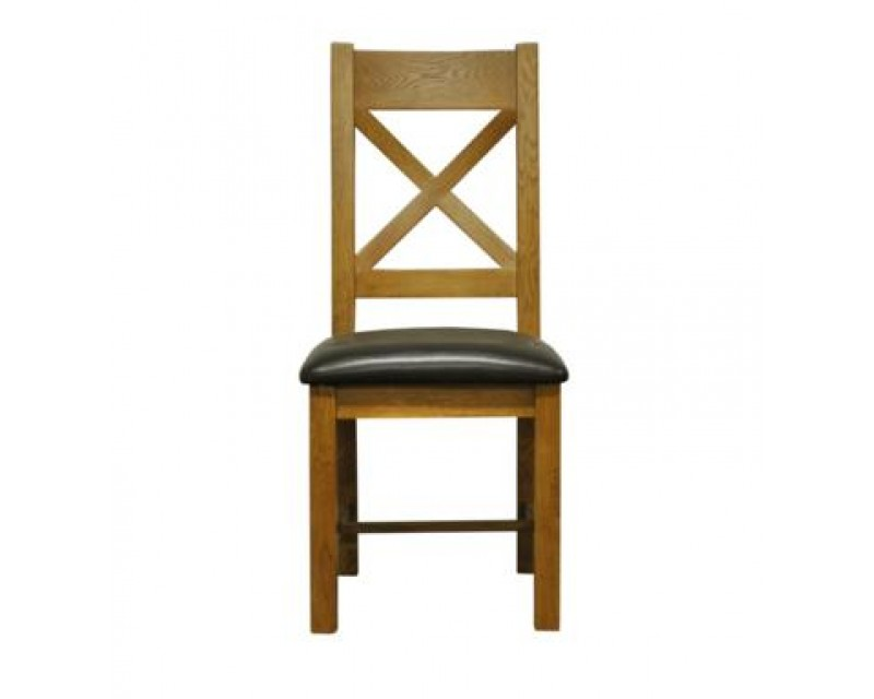 Langdon Cross Back Chair in Oak with PU Seat