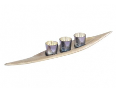 Blue Mercury & Champagne Gold 3 Tealight Votives - Aluminium Base