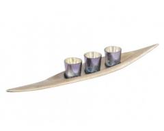 Blue Mercury & Champagne Gold 3 Tealight Votives - Aluminium Base