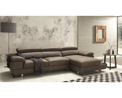 Italia 3 Seater Italian Leather Chaise Sofa