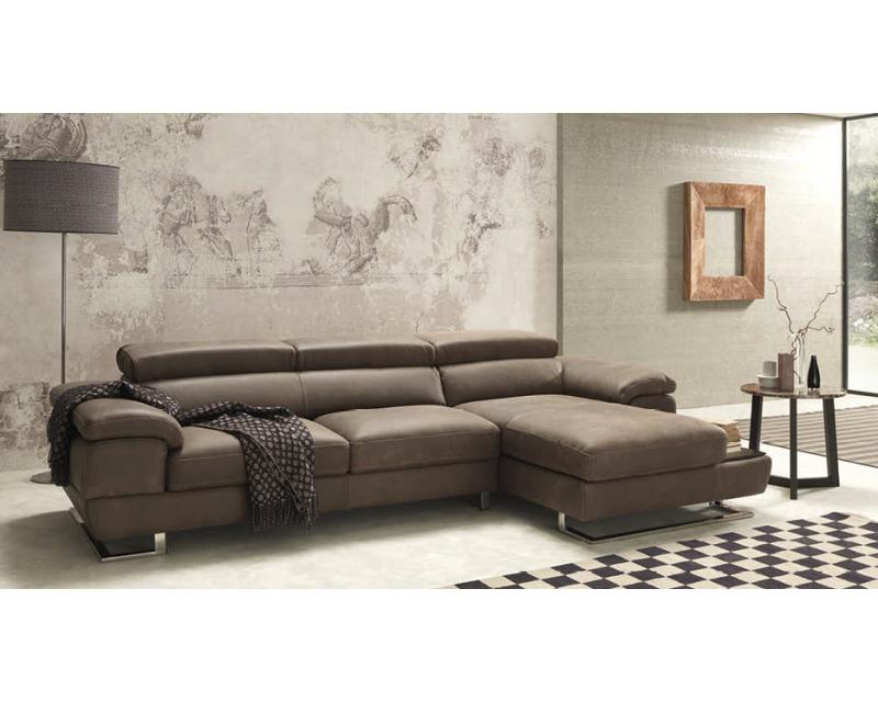Italia 3 Seater Italian Leather Chaise Sofa