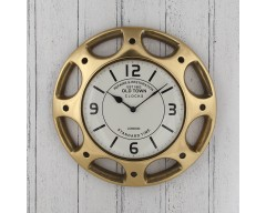 Antique Brass Hubcap Design Round Wall Clock