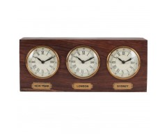 Antique Brass & Sheesham Wood Oblong Desk Clock