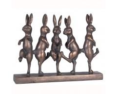 Antique Bronze Polyresin Dancing Hares Decoration