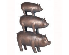 Antique Bronze Polyresin Stacked Pigs Decoration