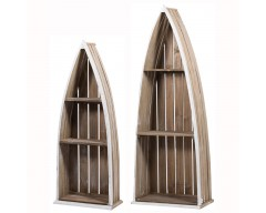 Natural Wood Set of 2 Boat Storage