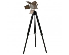 Black Wood Film Light & Antique Brass Head (Floor Lamp)