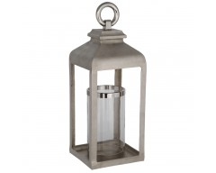 Large Shiny Nickel Cast Aluminium Square Lantern