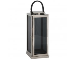 Large Shiny Nickel Stainless Steel Square Lantern