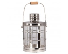 Shiny Nickel, Glass & Wood Colonial Lantern