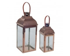 Copper Metal & Glass Set of 2 Lanterns