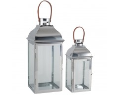 Silver Metal & Glass Set of 2 Lanterns