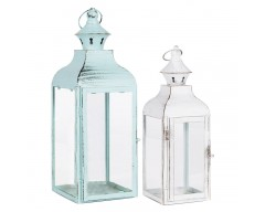 Blue & White Metal & Glass Set of 2 Lanterns