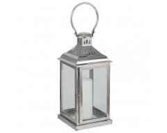 Polished Nickel & Glass Square Lantern Small