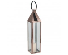 Shiny Copper Stainless Steel & Glass Large Lantern