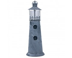 Washed Grey Metal Lighthouse Candle Holder Large
