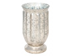 Antique Silver Recycle Glass Hurricane Large
