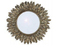 Gold Poly Resin Round Wall Mirror