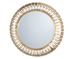 Antique Gold Round Metal Wall Mirror