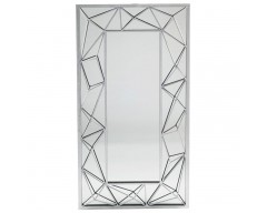 Antique Silver Metal Zig Zag Design Wall Mirror