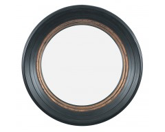 Black & Gold Polyresin Round Convex Small Mirror