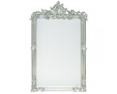 Antique Silver Wood Oblong Wall Mirror
