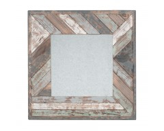 Blue, White & Natural Wood Square Wall Mirror