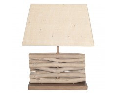 Driftwood Lamp with Natural Tapered Rectangle Shade