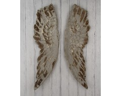 Antique Grey Polyresin Angel Wings Wall Art