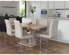 Rivaldo Dining Table & 6 Taupe Leather Chairs