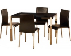 Claudia Gloss Black Dining Table & 4 Chairs