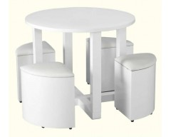 Claudia Gloss White Hideaway Dining Set