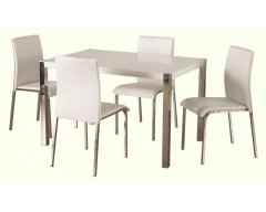 Claudia Gloss White Dining Table & 4 Chairs
