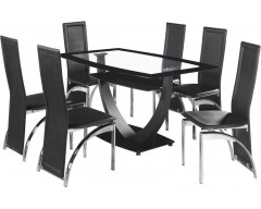 Hampton Glass Dining Table & 6 Chairs