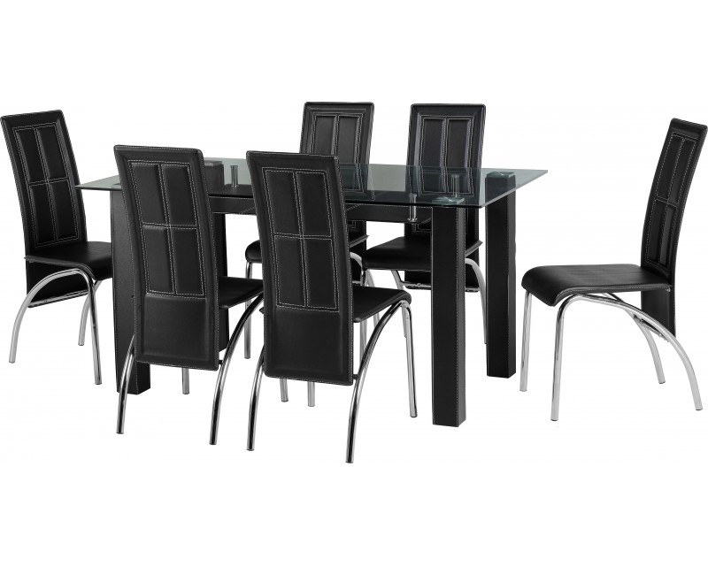 Stacey Dining Set & 6 Chairs