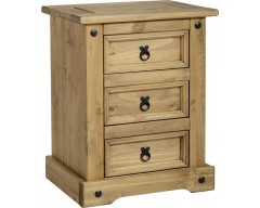 Mexican Deluxe 3 Drawer Bedside Cabinet