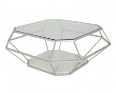 Inca Glass Coffee Table - Stainless Steel