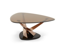 Lidia Glass Coffee Table - Rose Gold