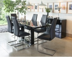 Aria High Gloss Dining Set with 4 Chairs - Chair & Table Colour Choices Available